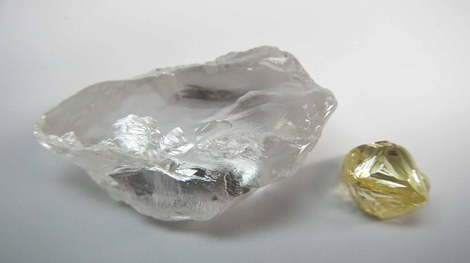 lucapa diamond 72 carat type iia d colour white and 7 carat fancy yellow from december quarter production